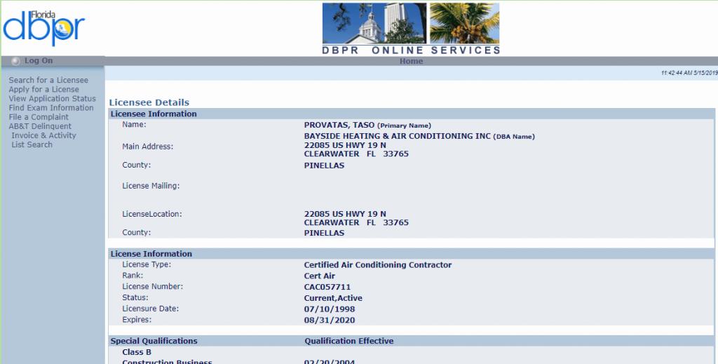 Florida Dpbr Certified Air Conditioner Contractor